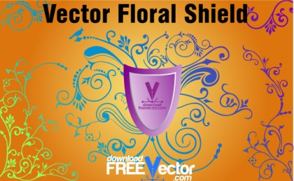 Floral Shield Free Vector