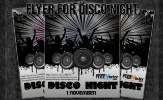 Flyer For Disco Night Free Vector