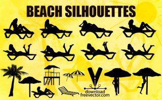 Girls Beach Silhouettes Free Vector