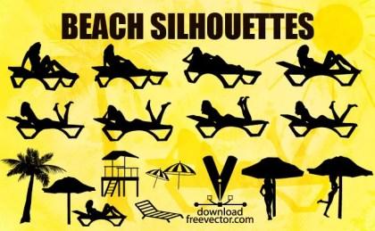 Girls Beach Silhouettes Free Vector