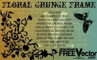 Grunge Floral Frame Free Vector