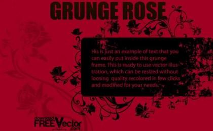 Grunge Rose Frame Free Vector