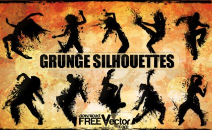 Grunge Silhouettes Of People Free Vector