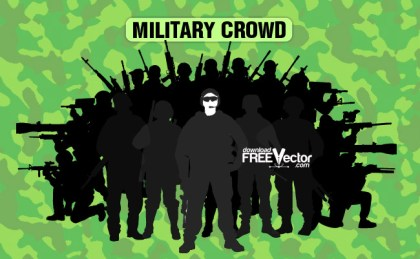 Military Crowd Free Vector
