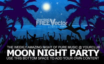 Moon Night Party Free Vector