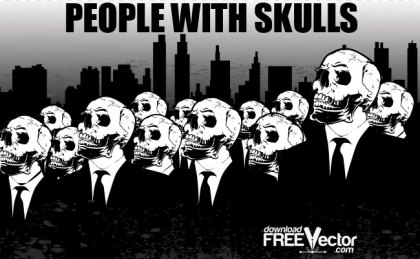 People With Skulls Free Vector