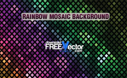 Rainbow Mosaic Background Free Vector