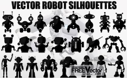 Robot Silhouettes Free Vector