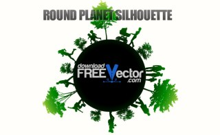Round Planet Silhouette Free Vector