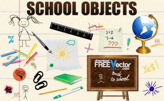 School Objects Free Vector