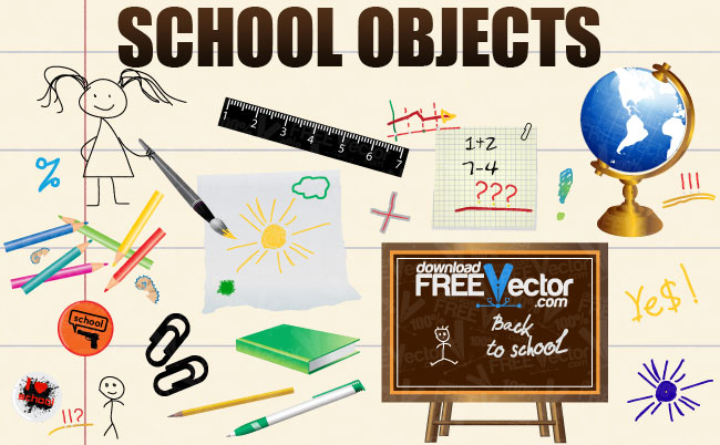 School Objects Free Vector