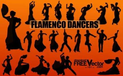 Silhouette Flamenco Dancers Free Vector