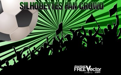 Silhouettes Fan Crowd Free Vector