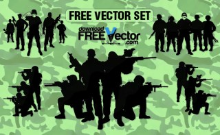 Soldiers Crowd Free Vector