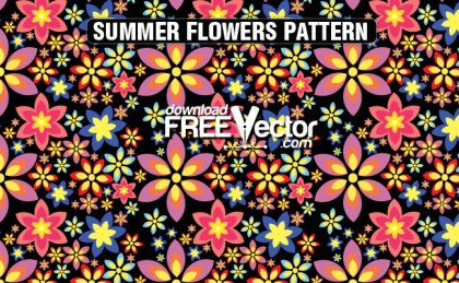 Summer Flowers Pattern Free Vector
