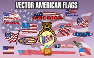 American Flags Clipart Free Vector