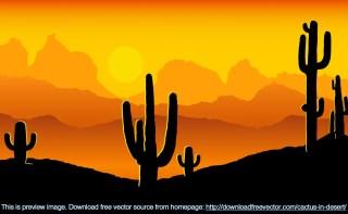Cactus In Desert Free Vector