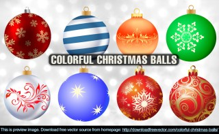 Colorful Christmas Balls Free Vector