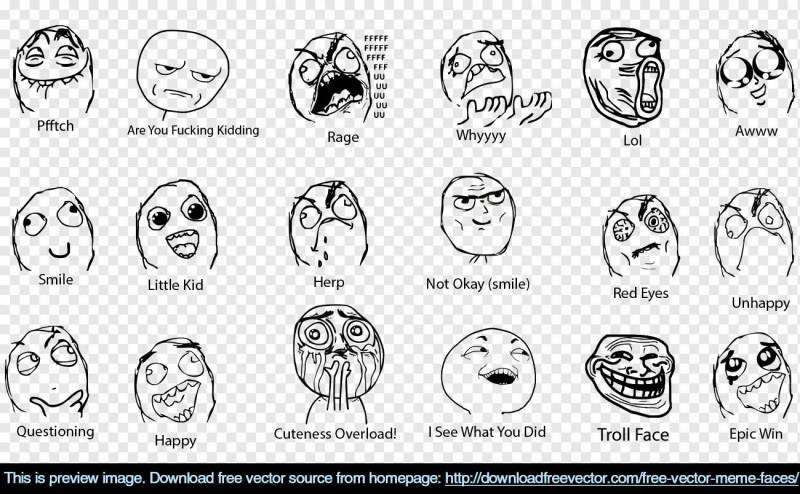 Meme Faces Free Vector