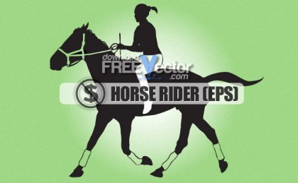 Girl Silhouettes Riding Horse Free Vector