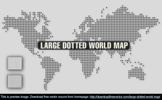 Large Dotted World Map Free Vector