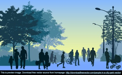 People In A City Park Free Vector
