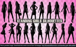 Standing Girls Silhouettes Free Vector
