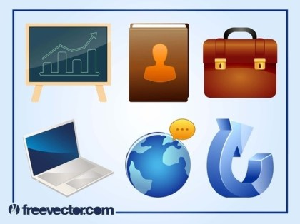 3D Business Icons Free Vector