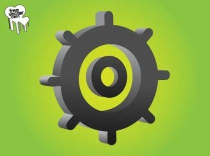 3D Gear Wheel Free Vector