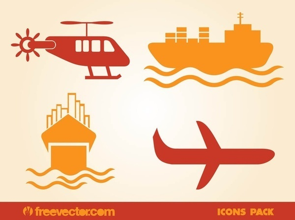 Aerial and Water Transport Free Vector