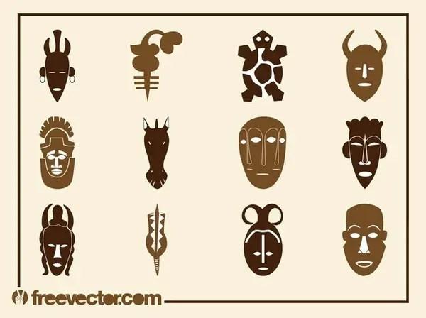 African Designs Set Free Vector
