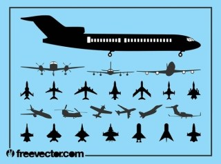 Aircraft Silhouette Set Free Vector