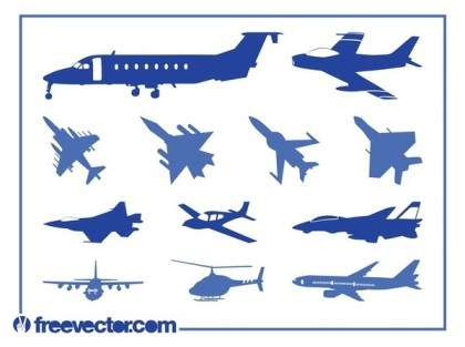 Aircraft Silhouettes Free Vector