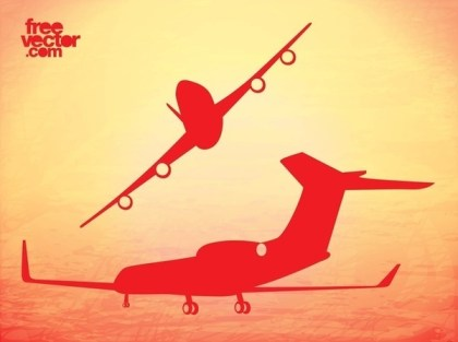 Airplane Flights Free Vector