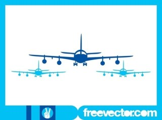 Airplanes Silhouettes Free Vector