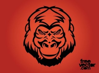 Angry Gorilla Face Free Vector