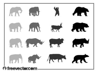 Animals Silhouettes Free Vector