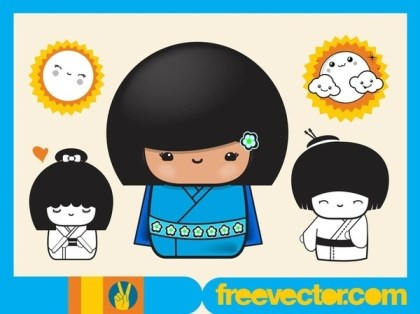 Asian Girls Cartoons Free Vector