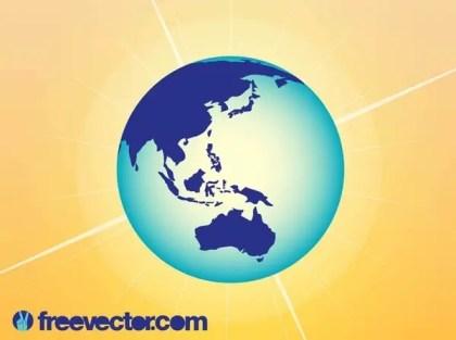 Australia and Asia Globe Free Vector