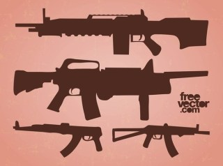 Automatic Guns Free Vector
