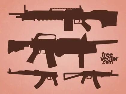 Automatic Guns Free Vector