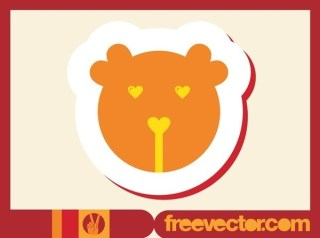 Bear Badge Free Vector