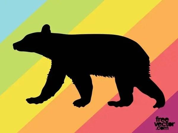 Bear Cub Silhouette Free Vector