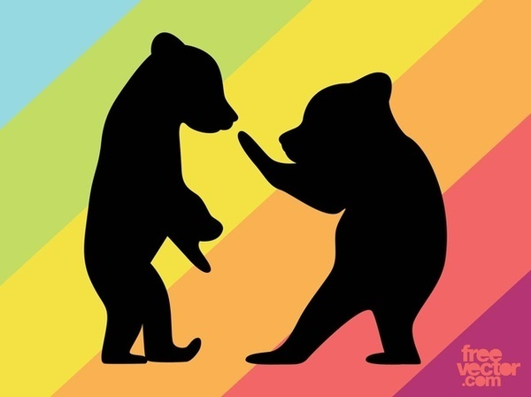 Bear Cubs Silhouettes Free Vector