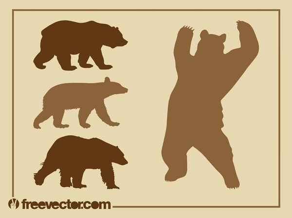 Bear Silhouettes Set Free Vector