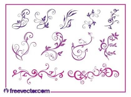 Beautiful Flower Swirls Free Vector