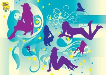 Beautiful Girls Silhouettes Free Vector