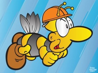 Bee Cartoon Free Vector