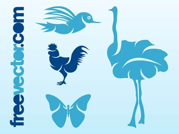 Birds and Butterfly Free Vector