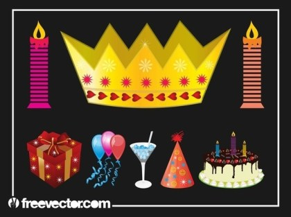 Birthday Party Set Free Vector